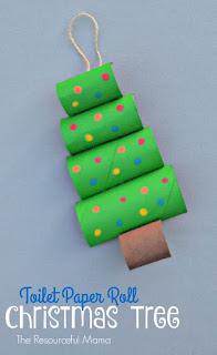 Artesanato com rolo de papel higiênico para decoração de Natal