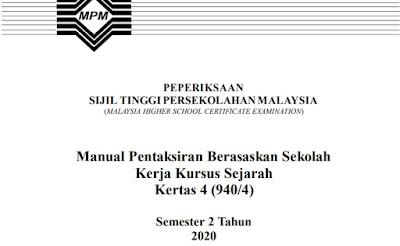 Contoh Tajuk Kerja Kursus Sejarah STPM 2020 (Jadual)