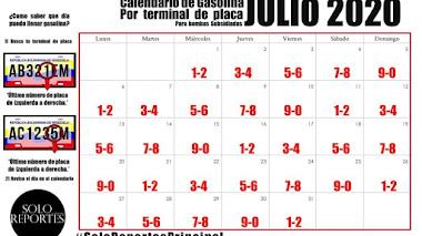 Cronograma para surtir gasolina en el mes de julio