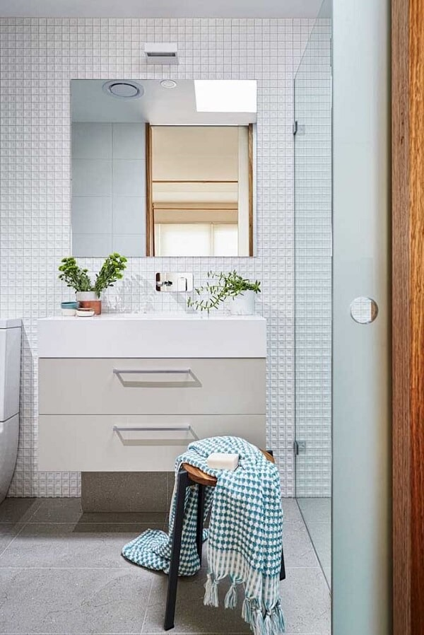 3D bathroom tile with small shapes are ideal for compact environments