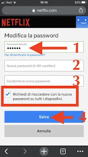 attiva spunta per richiedere la nuova password, schermata dove si modifica la password di netflix su browser mobile telefono tablet android iphone lumia blackberry