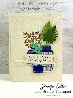 This sorry card uses Stampin' Up!'s Boho Indigo Medley, Dainty Diamonds embossing folder, and gold heat embossing.  Click the photo to go to video and supply list.  #StampinUp #StampTherapist