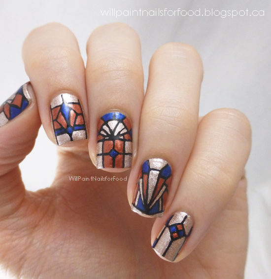 will paint nails for food picture polish blog fest 2013 art deco stained glass nails tutorial. Black Bedroom Furniture Sets. Home Design Ideas