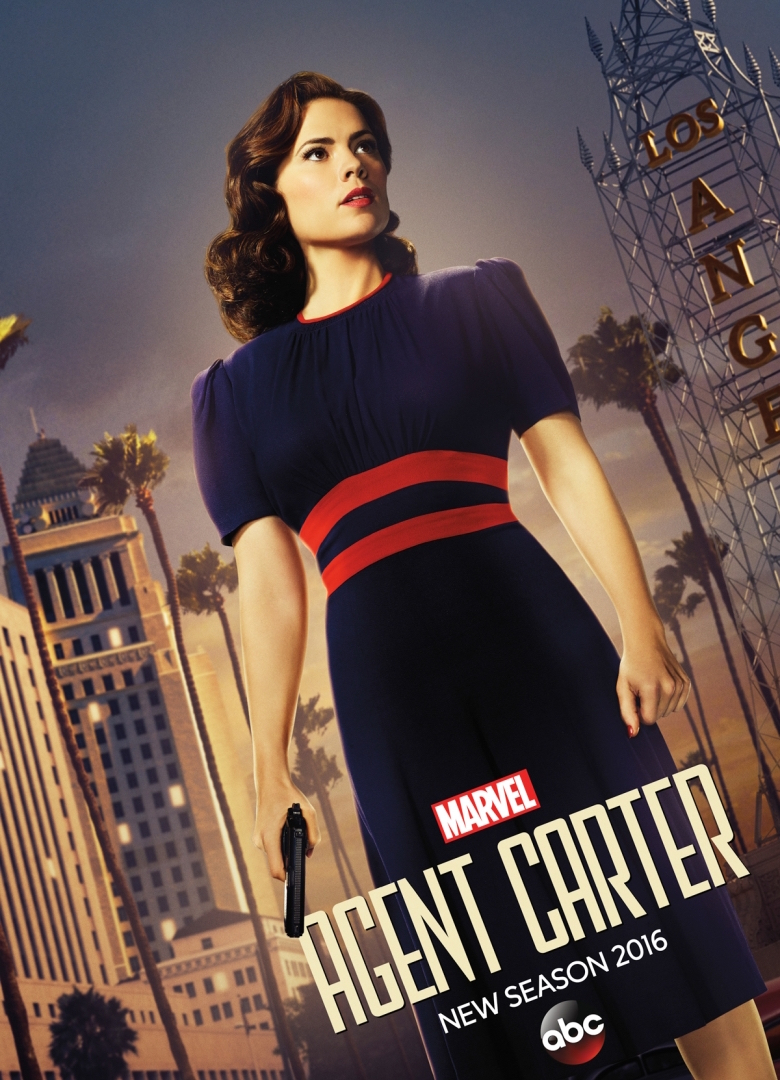 Season 2 'Agent Carter' poster: Dutch-angle shot of Carter in Los Angeles with her gun in hand at her side