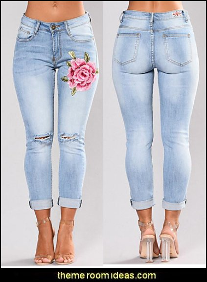 Women's Mid Rise strenchy Skinny Jeans Pants,Street chic Slim Embroidered