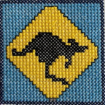 Kangaroo Crossing Australian roadsign in cross stitch
