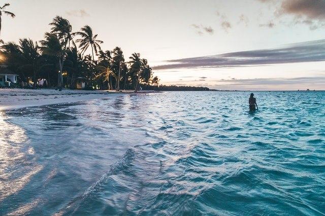 Swimming in beach in the Caribeean