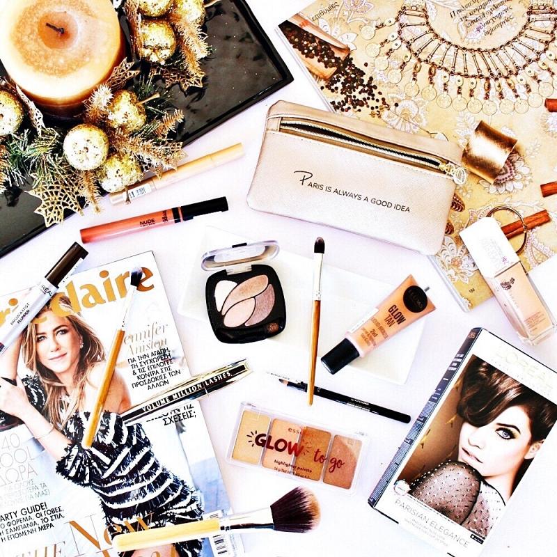 glowy makeup in earthy tones, beauty makeup flatlays, L'Oreal makeup travel set