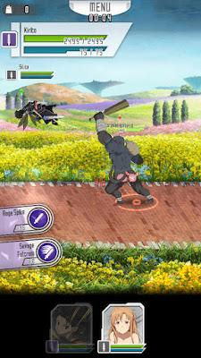 Screen z gry Sword Art Online: Memory Defrag - Kirito obrywa od małpy