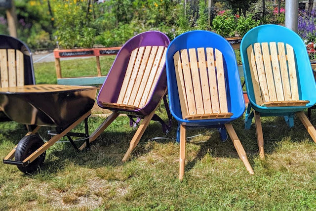 Chairs made from wheelbarrows at the WWII Victory Garden in Boston, Massachusetts