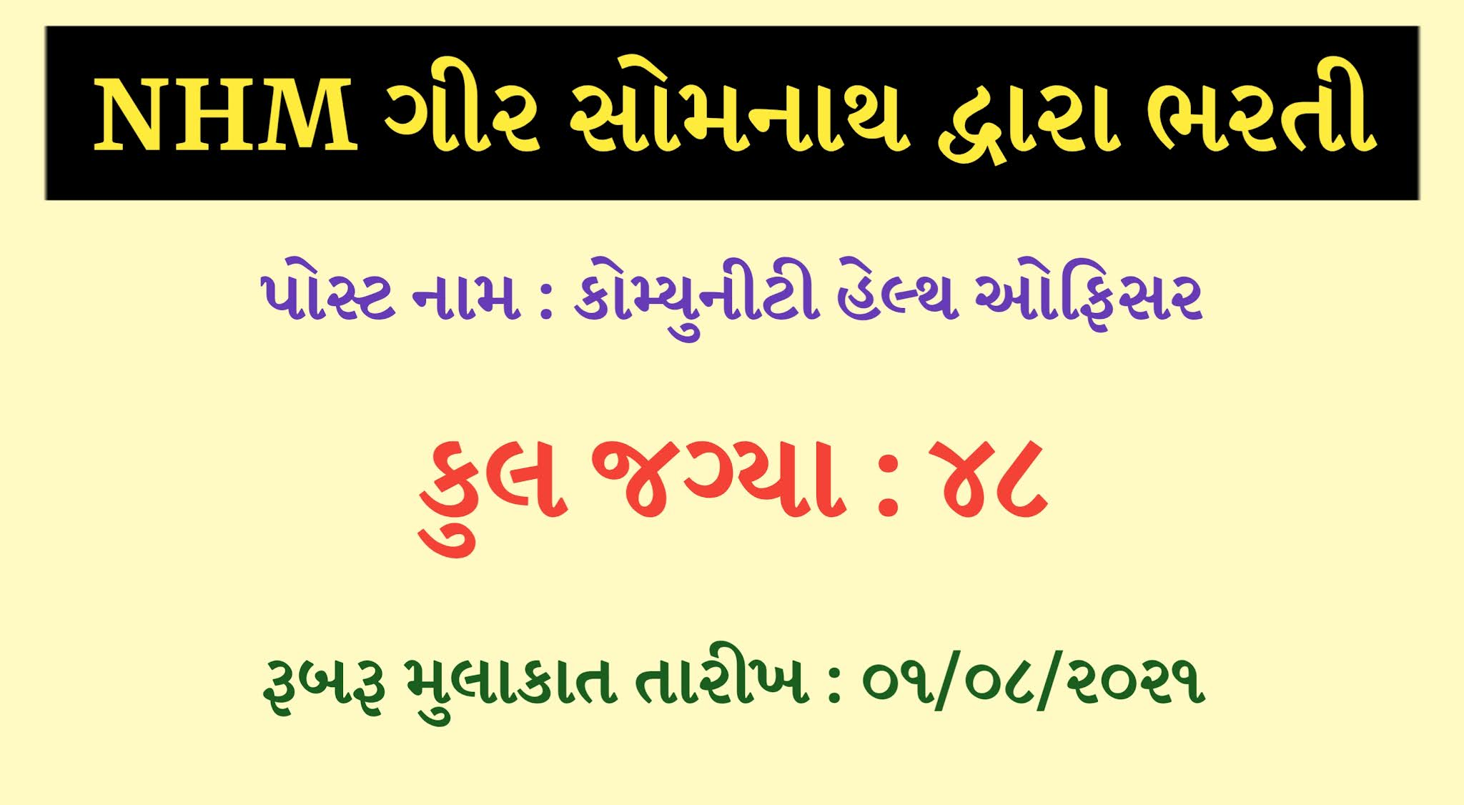 NHM Gir Somnath Recruitment Community Health Officer 2021, NHM Gir Somnath Recruitment 2021