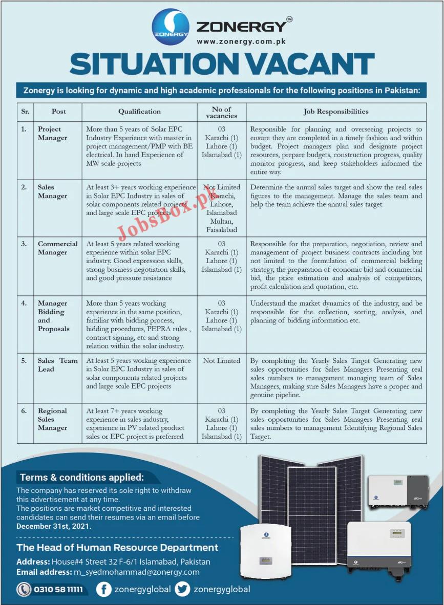www.zonergy.com.pk Jobs 2021 - Zonergy Company Limited Jobs 2021 in Pakistan
