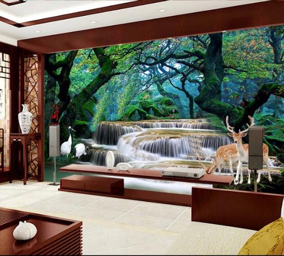 Tranh Dán Tường 3D Rừng  Và Thác Nước  Nai Rừng