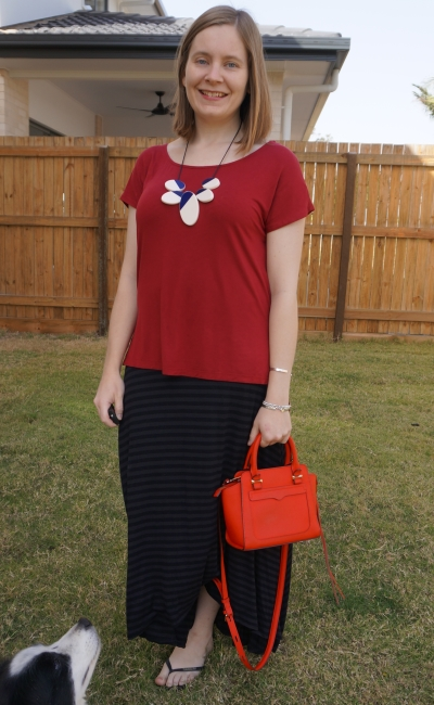 burgundy tunic tee with striped maxi skirt and poppy red Rebecca Minkoff micro avery tote bag | away from blue