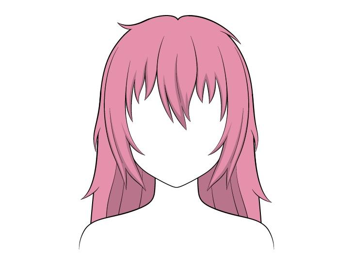 Shading rambut panjang berantakan anime