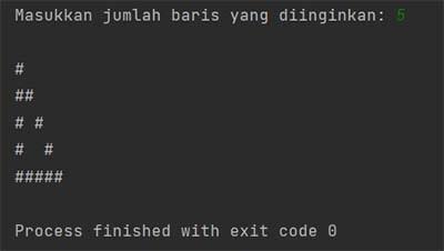 Membuat Pola Segitiga Berongga atau Berlubang Menggunakan Java