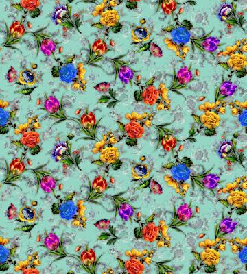 floral water colour textile repeat 7048