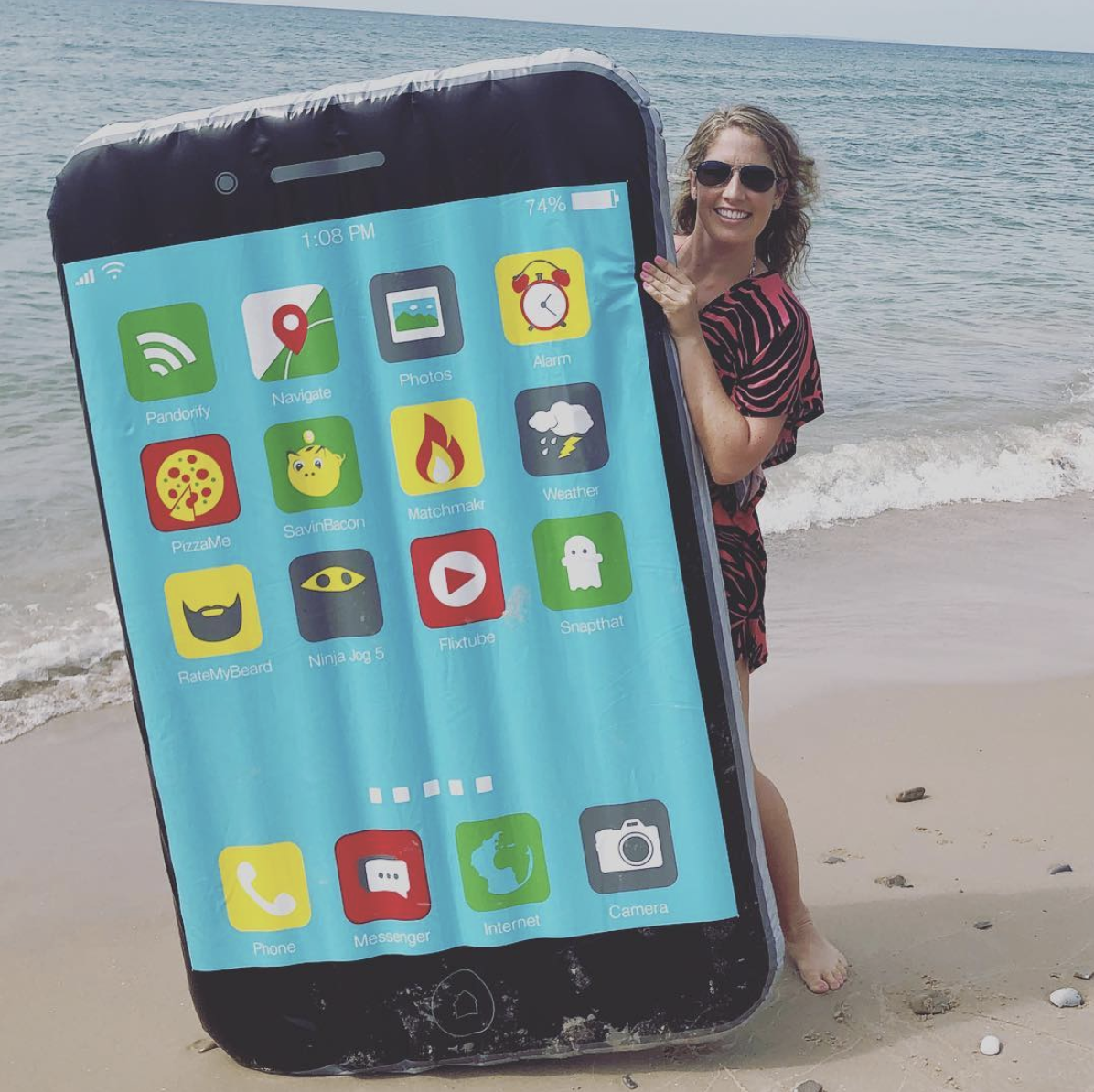 Phone pool and beach float for technology lovers
