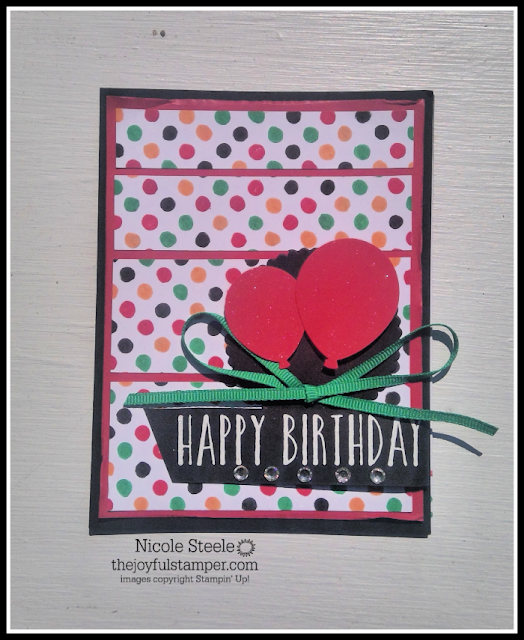 Birthday card using Basic Pattern Decorative Masks and Stampin' Write markers to create a background by Nicole Steele The Joyful Stamper