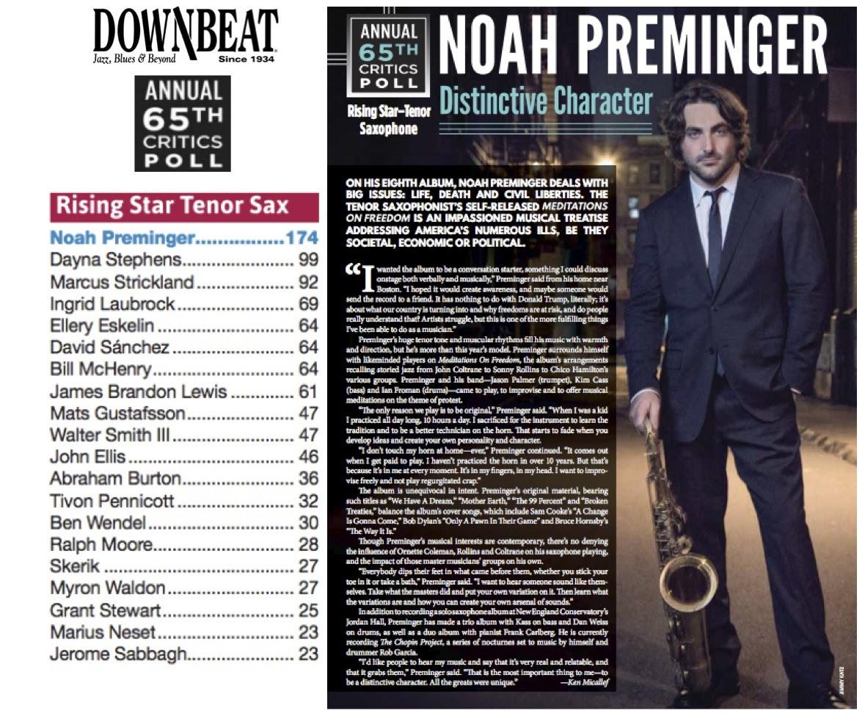 Republic of Jazz: Noah Preminger – #1 Rising Star Tenor
