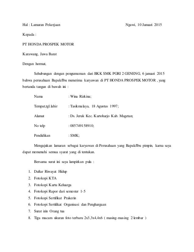 Contoh Surat Lamaran Kerja Dealer Yamaha