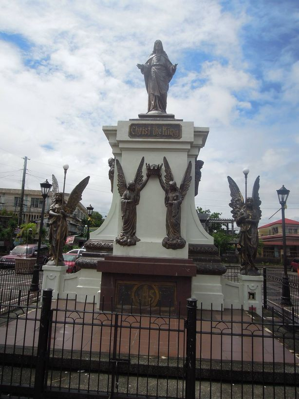 Christ the King statue at the plaza in front of Tabaco Church