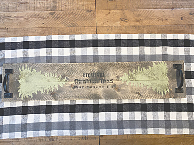 wooden table runner with christmas trees