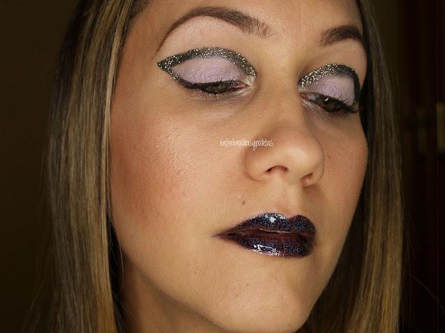 maquillaje festivo glitter negro