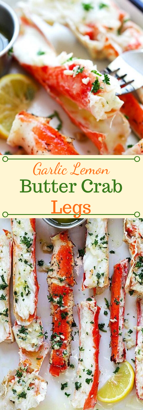GARLIC LEMON BUTTER CRAB LEGS #dinner #lemon #butter #appetizers #snacks