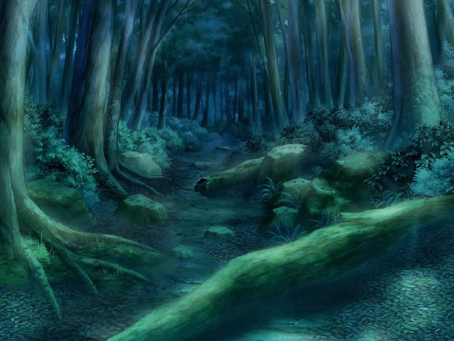 Anime landscape green forest path at night anime background - Anime forest background ...
