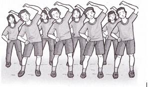 Bocah sekolah lagi padha olahraga ing plataran Sekolah