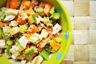 foto Ricetta cous cous di farro con verdure e pollo grigliati per bambini