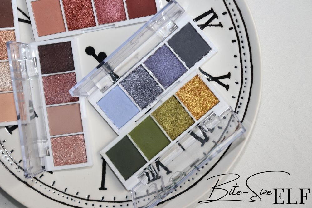 ELF Bite-Size Eyeshadow Palettes Review Swatches - London Beauty Blogger Makeup Artist - Burn Out Brand - Target Idea Copywriter
