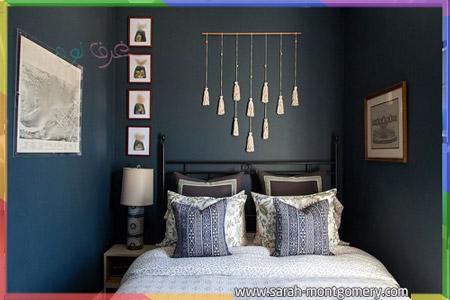 غرف نوم ازرق رصاصي