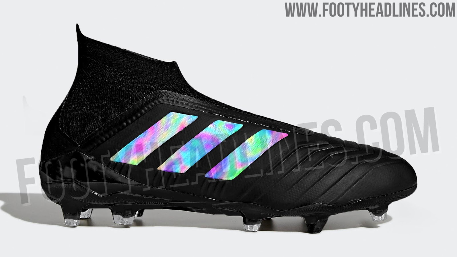 purchase cheap b215e 129a0 A blackout look with a twist, the Adidas Predator 18+ Shadow Mode soccer  boots are all-black and feature bright iridescent 3 Stripes on the outstep.