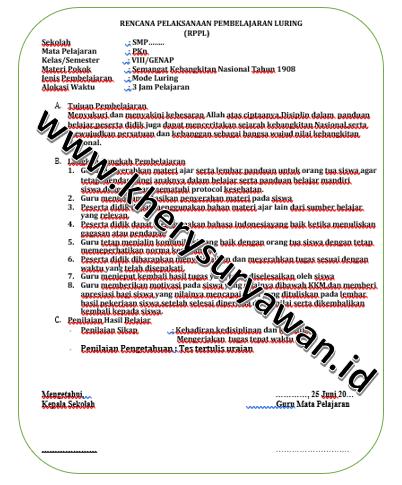 Rpp 1 Lembar Pkn Kelas 8 Semester 1 2 Revisi 2020 Kherysuryawan Id