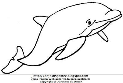 Dibujo de un delfín para colorear, pintar e imprimir hecho para niños (Delfín de cuerpo entero). Dibujo del delfín hecho por Jesus Gómez