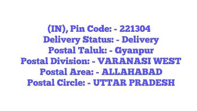 Gyanpur, Sant Ravidas Nagar Uttar Pradesh  ....-Pin Code