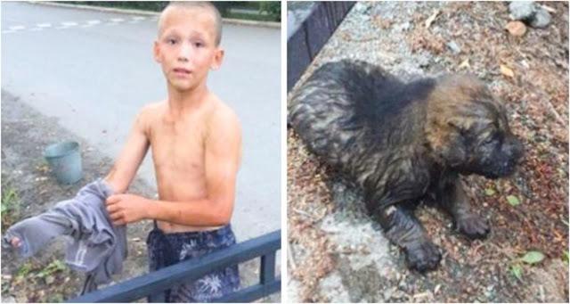 12-летний Саша спас из сточной канавы крошечного щенка