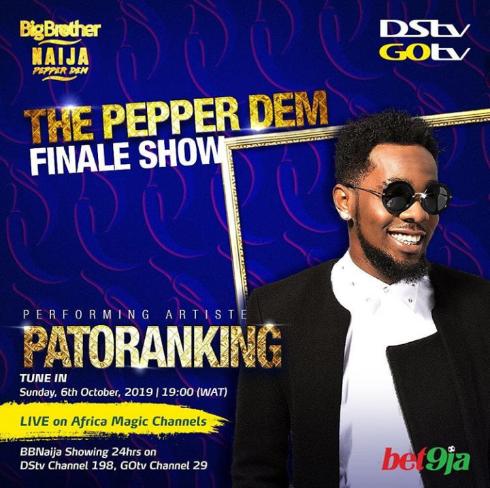 #BBNaija 2019: Tiwa Savage, MI Abaga, Patoranking to headline 'Pepper Dem' finale