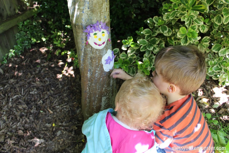 Outdoor art for kids - clay nature faces