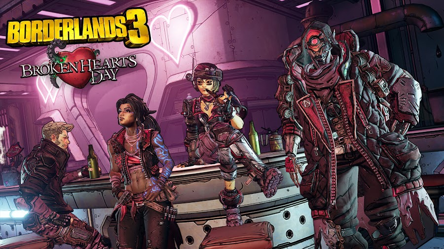 borderlands 3 broken hearts day valentine's day event free content update pc ps4 xb1 gearbox software 2K games