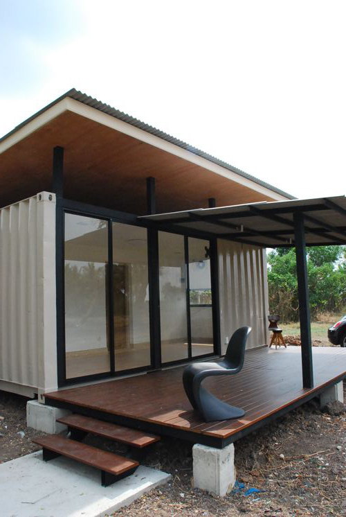 Simple Shipping Container Home Made of Two 20 ft Containers, Thailand 2