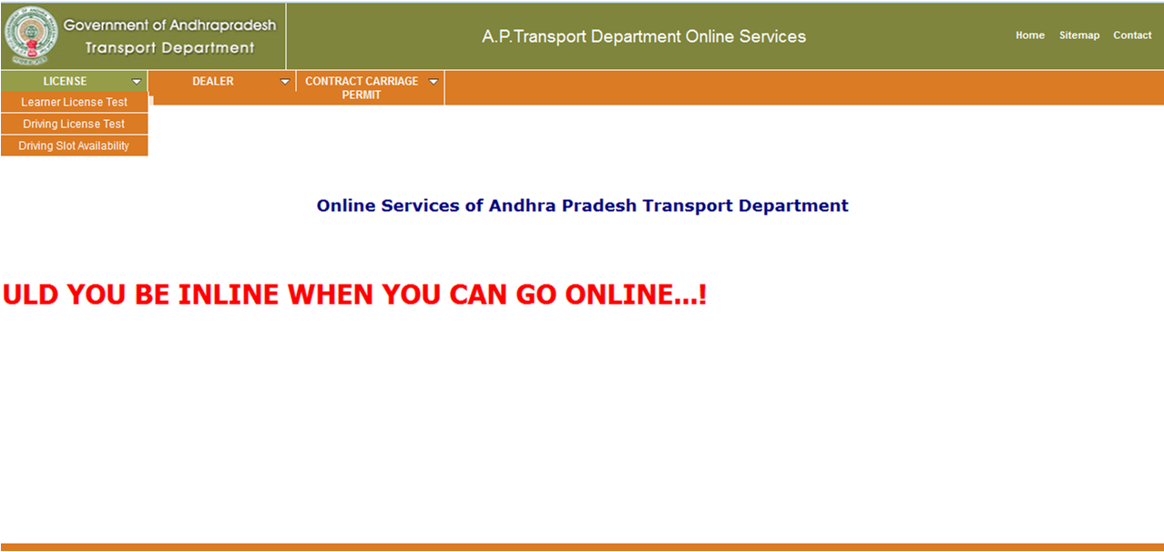 Driving_and_learner_licence_slots_booking_online_in_Andhra Pradesh