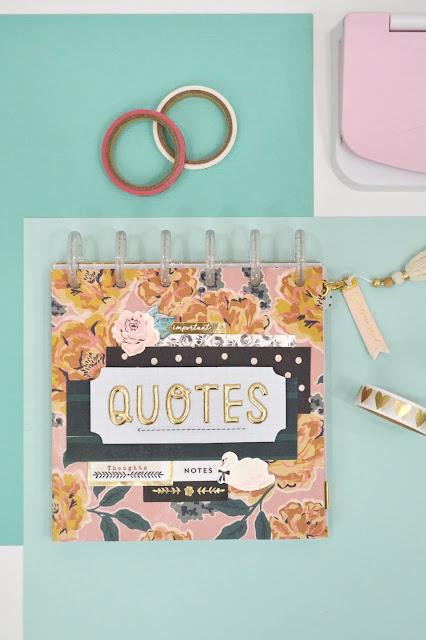 Create a DIY Quote Book with the new Lowercase Word Punch Board and Icon Punches from We R Memory Keepers