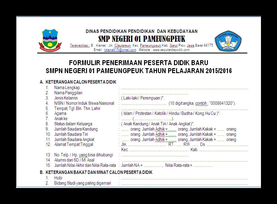 Contoh Formulir Penerimaan Siswa Baru ( PSB ) Tahun Ajaran 2015/2016