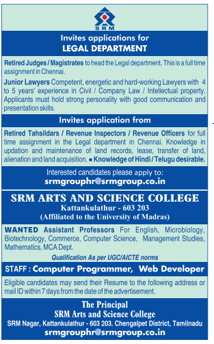 SRM College Microbiology/Biotech Faculty Jobs