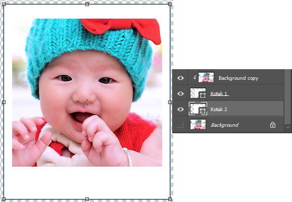 Pengaturan efek foto kotak kolase kedua di Photoshop dan susunan layernya