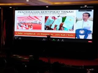 Kanwil BPN Provinsi Jambi Dan Sekda Provinsi Jambi Menyaksikan Secara Virtual Penyerahan Sertifikat Tanah Untuk Rakyat Se-Indonesia Oleh Presiden RI.