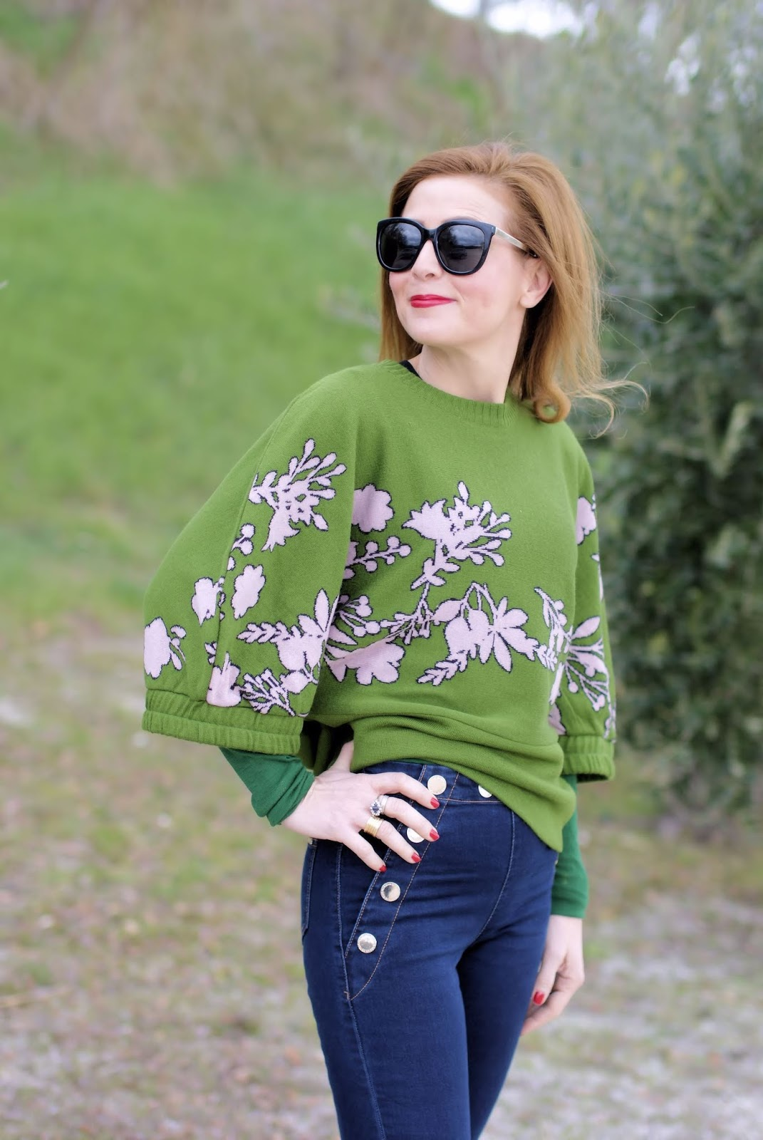 Japanese style sweater with flare sleeves on Fashion and Cookies fashion blog, fashion blogger style